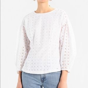 Banana Republic White Eyelet Drop Shoulder Blouse